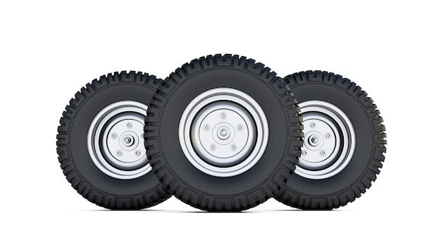 Três pneus pretos. 3d render da roda automotiva isolada no espaço em branco. pneu do carro.
