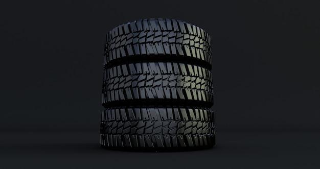 Três pneus pretos. 3d render da roda automotiva isolada no espaço negro. pneu do carro.