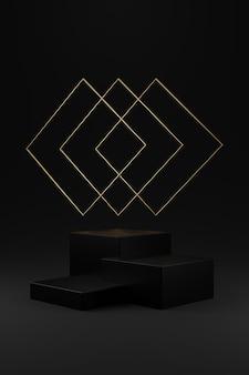 Três pódio quadrado preto e anel quadrado de ouro em fundo cinza gradiente.