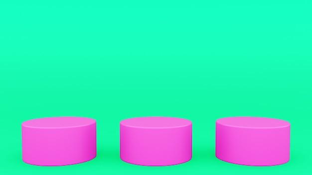 Três pódios cilíndricos cena verde e rosa mínimo 3d render moderno minimalista, vitrine vazia