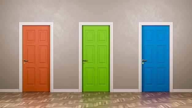 Três portas fechadas na sala
