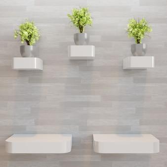 Três prateleira de parede de madeira vazia com decoração de plantas de casal