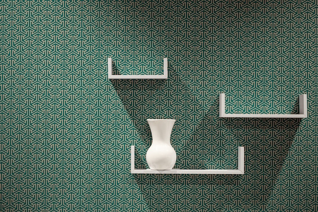 Três prateleiras brancas modernas bonitas na parede abstrata.