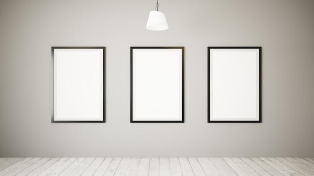 Três quadros em uma galeria mínima