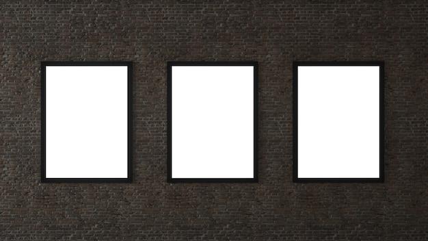 Três quadros vazios em uma sala contra uma parede de tijolos brancos. renderização 3d.