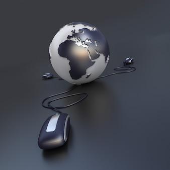 Três ratos de computador conectados à terra em tons de cinza e cromado