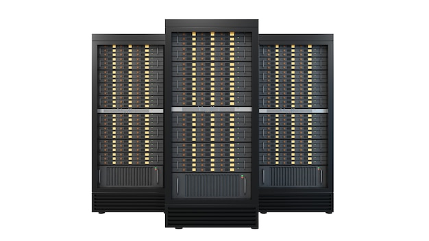 Três recipientes de rack de servidor de hospedagem isolados no fundo branco. imagem de ilustração de renderização de imagem de trajeto de grampeamento.