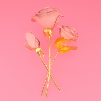 Três rosas metálicas na ilustração de fundo rosa 3d render