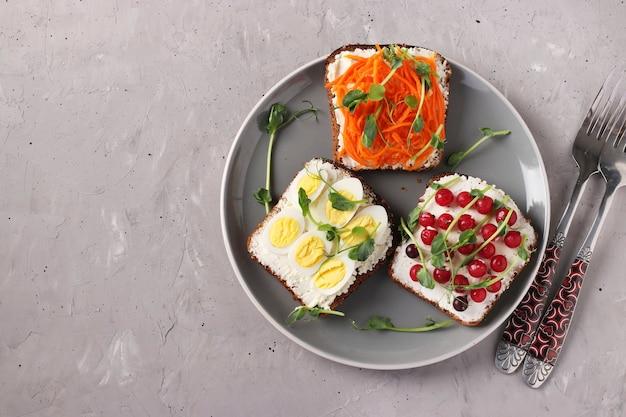 Três sanduíches na torrada com cream cheese, cenoura, groselha e ovos de codorna decorados com ervilhas microgreens em um prato na superfície de concreto cinza.
