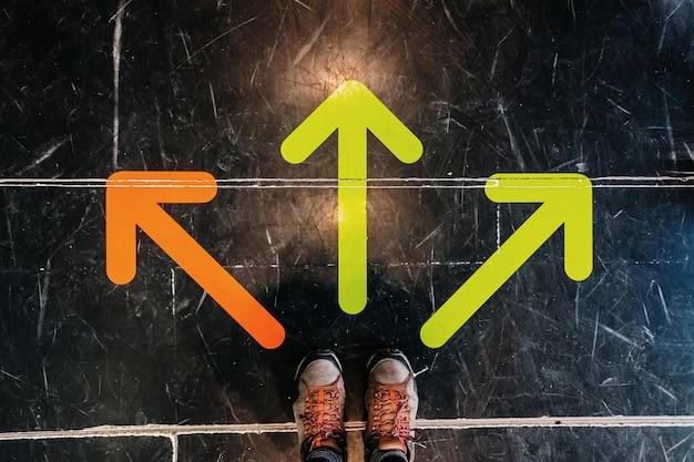 Três setas coloridas no chão direcionam os pés de um homem de botas.