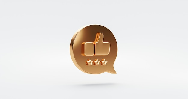 Três símbolo de ícone de taxa de estrela de ouro de qualidade premium ou experiência de avaliação do cliente serviço de negócios excelente feedback sobre o melhor fundo de satisfação de classificação com sinal de classificação de design plano. renderização 3d.
