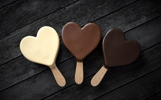 Três sorvetes em forma de coração