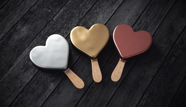 Três sorvetes metálicos, ouro, prata e bronze