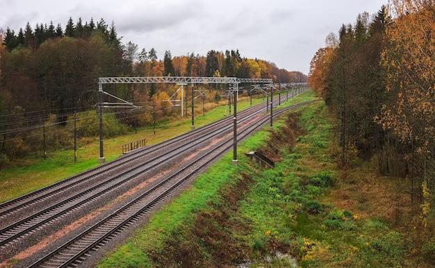 Três trilhos de trem no outono. no quadro travessas, entulho, pedras, postes, laranjeiras