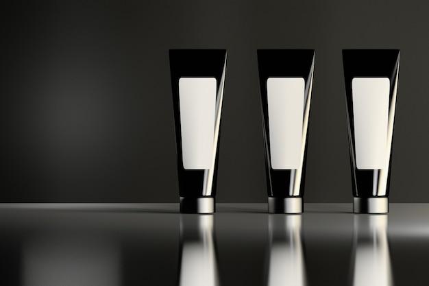 Três tubos cosméticos pretos brilhantes semelhantes com etiquetas brancas que estão na superfície brilhante reflexiva. design de embalagem de produtos de beleza.