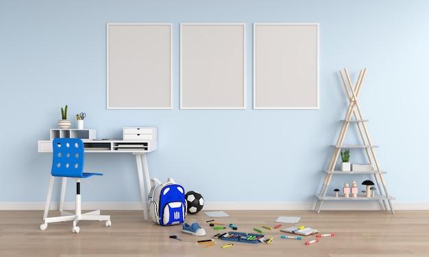 Três, vazio, em branco, frame foto, em, criança, sala