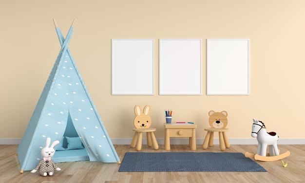 Três vazio moldura em branco no quarto de crianças