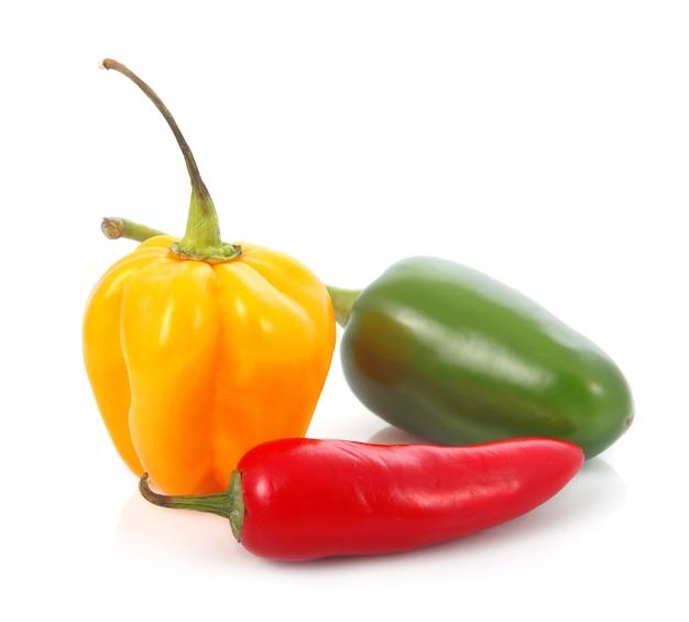 Três vegetais coloridos da pimenta de pimentão isolados