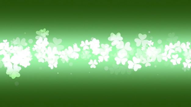Trevos verdes sobre fundo de brilho, feriado do dia de saint patrick. ilustração 3d de luxo e estilo elegante para férias
