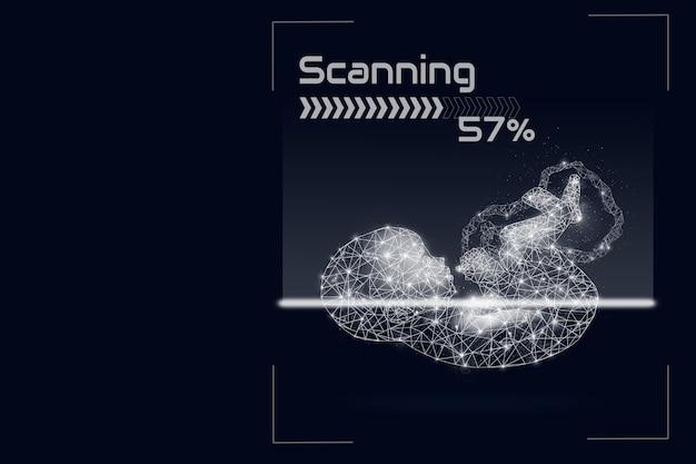 Triagem de computador, imagem do bebê saudável em formação sobre fundo azul escuro