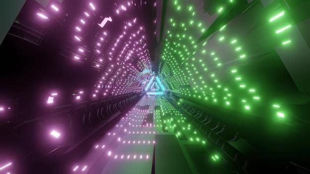 Triângulo abstrato brilhante com túnel feito de luzes de néon roxas e verdes brilhando como ilustração 3d