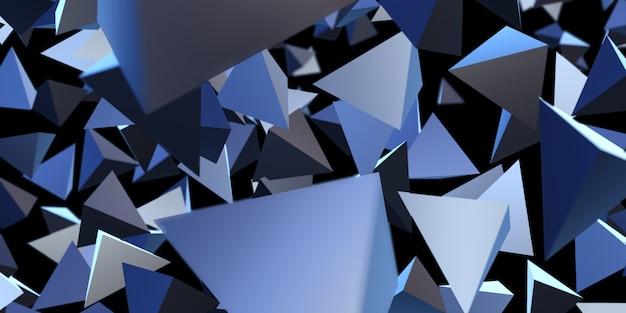 Triângulo abstrato ilustração 3d com fundo geométrico brilhante