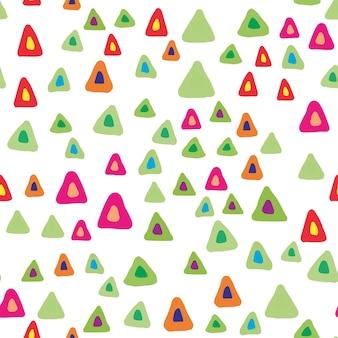 Triângulo aleatório molda o padrão sem emenda em fundo branco. cenário de formas caóticas desenhada de mão. cores brilhantes. ilustração vetorial