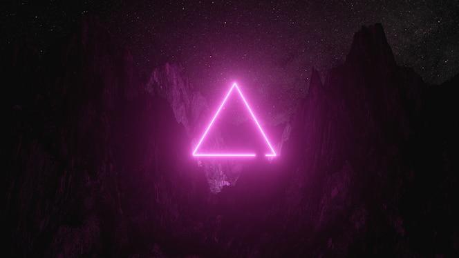 triângulo de néon rosa brilhante entre as montanhas