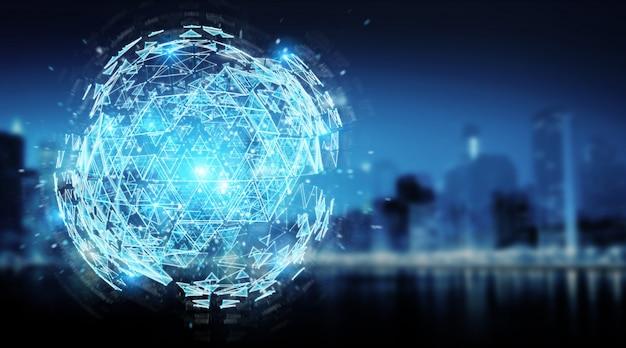 Triângulo digital explodindo esfera holograma renderização em 3d