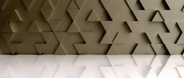 Triângulo dourado de fundo no chão branco. renderização em 3d.