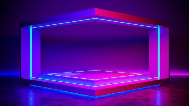 Triângulo estágio abstrato futurista, conceito ultravioleta, render 3d