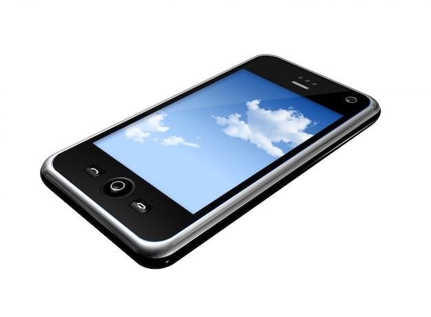 Tridimensional, telefone móvel, isolado, branco, whith, caminho cortante