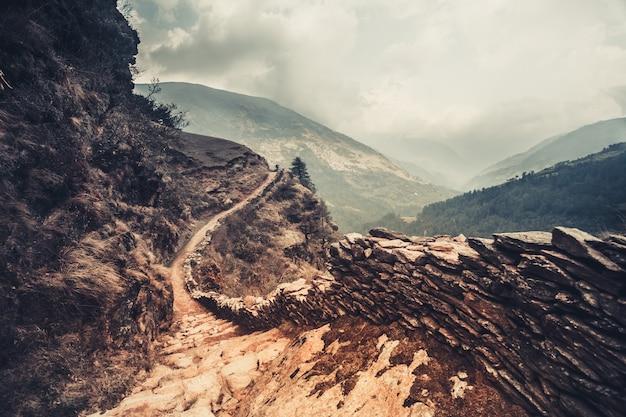 Trilha de montanha. fundo natural