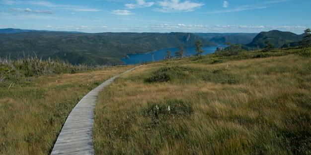 Trilha vigia, ao longo, bonne, baía, colina vigia, parque nacional gross morne, newfoundland, e, labrador, ca