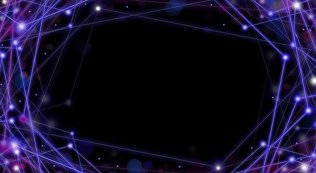 Trilhas de luz azul e roxa se cruzando em um ângulo em um fundo preto conceito de conexão de tecnologia