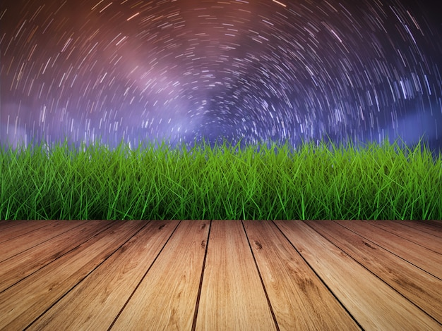Trilhas estelares no fundo do céu noturno com piso de madeira