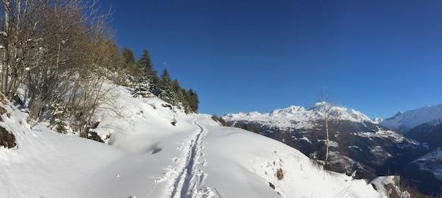 Trilhas na neve fresca em uma trilha na paisagem montanhosa