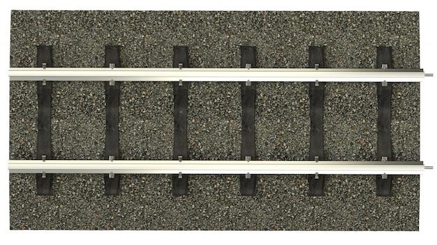Trilhos com dormentes de concreto. imagem detalhada de uma ferrovia com cascalho dumping. renderização em 3d