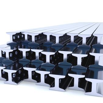 Trilhos de metal em um fundo branco. ilustração 3d rendem.