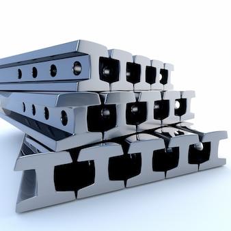 Trilhos de metal em um fundo branco. ilustração 3d