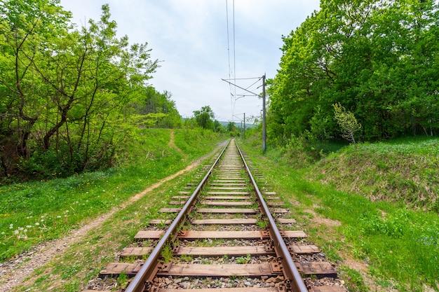 Trilhos de trem com travessas de madeira em um dia de verão ou primavera