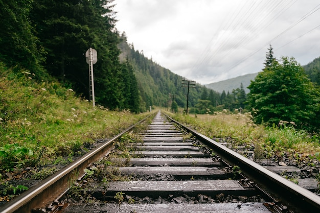 Trilhos de trem nas montanhas. ferroviária entre a bela paisagem.