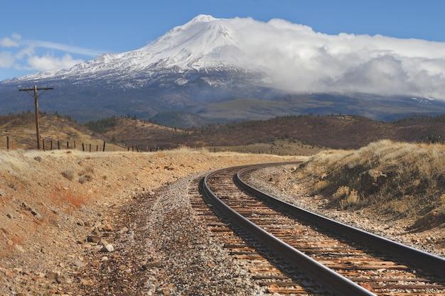 Trilhos de trem no meio de um campo vazio com uma montanha de neve à distância