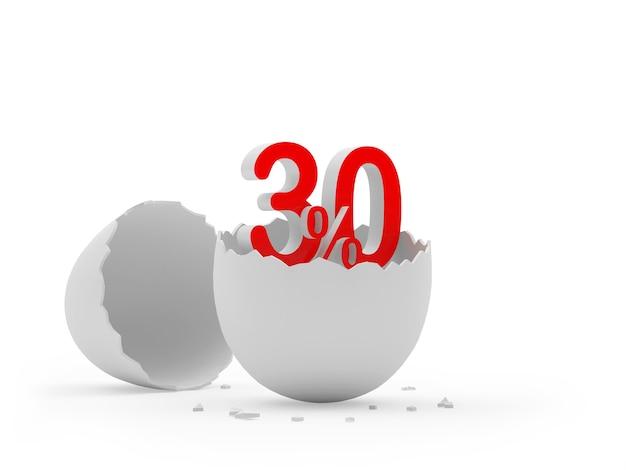 Trinta por cento assinam uma casca de ovo quebrada