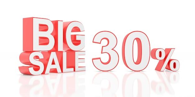 Trinta por cento de venda. grande venda para banner do site. renderização em 3d.