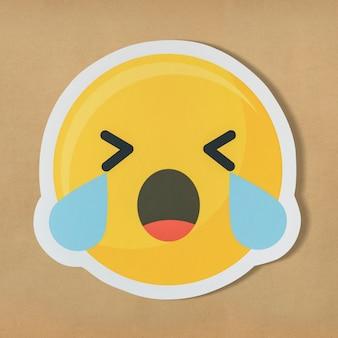 Triste, chorando, rosto, emoticon, símbolo
