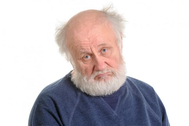 Triste, deprimido, homem velho, isolado, retrato