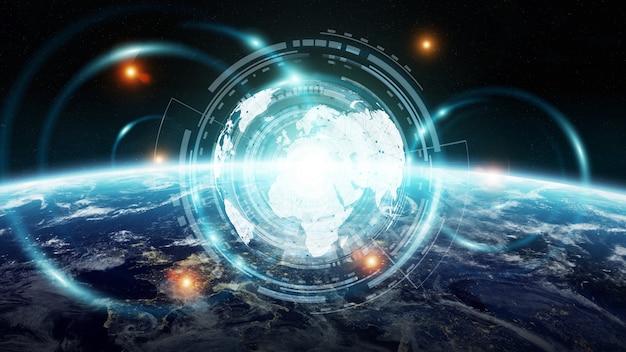 Troca de dados e rede global sobre o mundo 3d rendering
