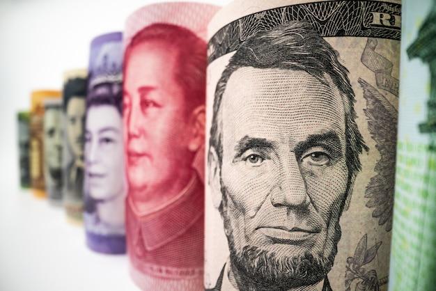 Troca de dinheiro internacional. moeda estrangeira.