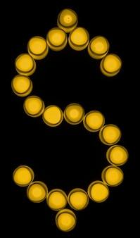 Troca de moeda amarela cifrão